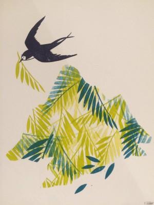 Galerie Montpellier | Evelyne Mary: Hirondelles et montagne de feuilles