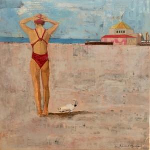 Galerie Montpellier   Rusiñol Masramon: Banyista amb gat a la platja
