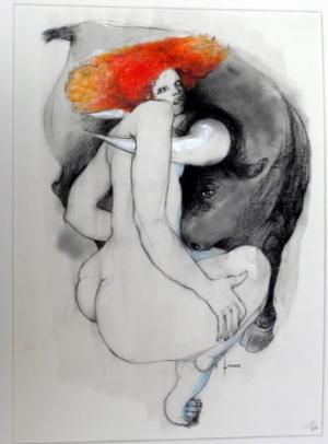 Galerie Montpellier | Pierre Lohner: Sans titre (femme et taureau)